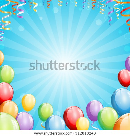 Party Background with Balloons and Streamers - stock photo