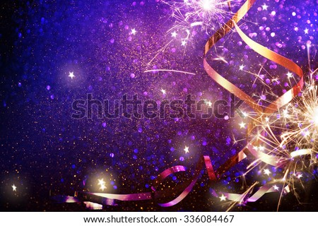 Party Background with lights and serpentine - stock photo