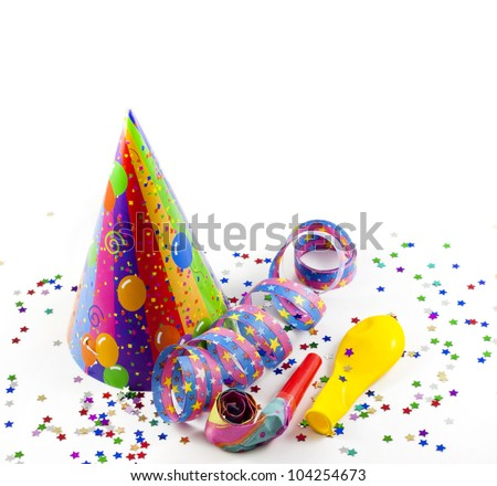 party background with serpentines confetti and hat - stock photo