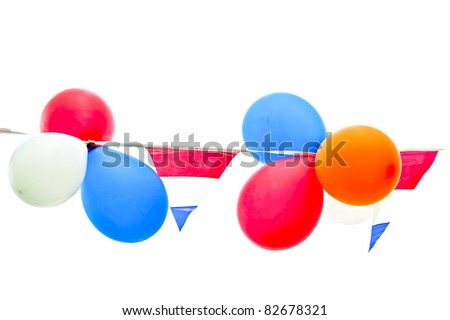 Party balloons and flags - stock photo