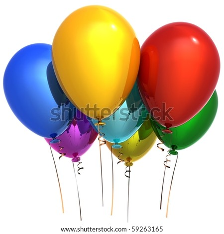 Party balloons happy birthday decoration 7 colorful multicolor. New Year Christmas greeting card. Seven anniversary retirement graduation concept. 3d render isolated on white background - stock photo