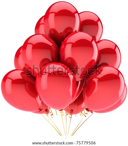 Party balloons red. Happy Birthday anniversary graduation retirement holiday carnival occasion decoration. New Year's Eve. Positive fun joy abstract. Detailed 3d render. Isolated on white background - stock photo