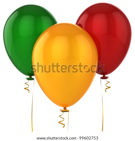 Party balloons 3 three birthday life events decoration blank green red yellow. Happy joy positive emotion abstract. Celebrate occasion life events greeting card. 3d render isolated on white background - stock photo