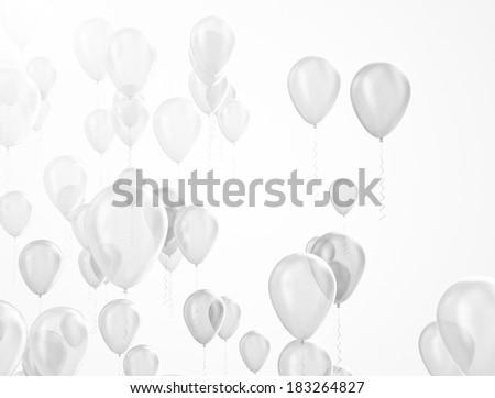 Party balloons white helium balloon silver isolated on white background - stock photo