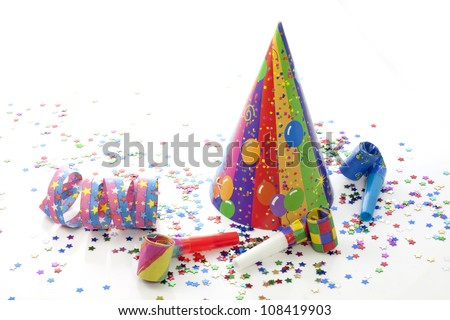 Party birthday new year items on white background - stock photo