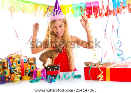 Party blond kid girl happy with puppy present Chihuahua doggy - stock photo