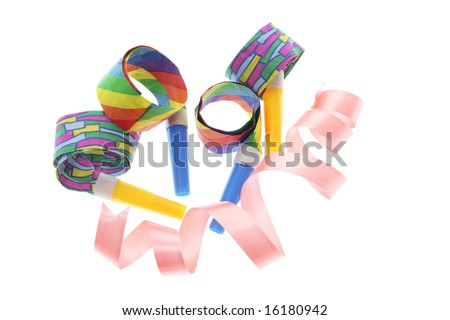 Party Blowers and Curling Ribbon on White Background - stock photo