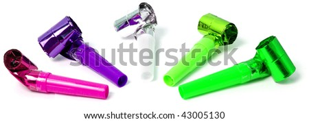 Party blowers isolated on white - stock photo