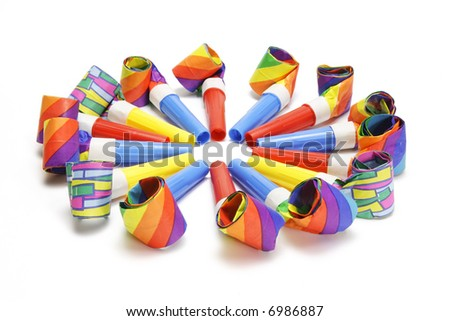 Party blowers on white background - stock photo