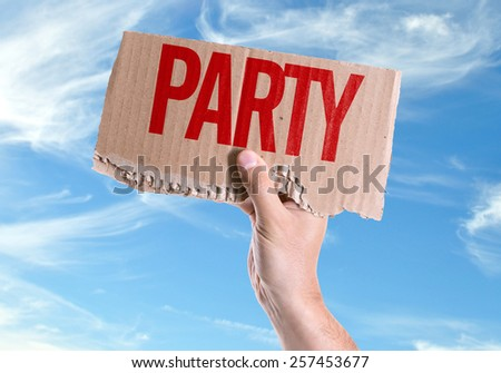 Party card with sky background - stock photo