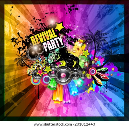 PArty Club Flyer for Music event with Explosion of colors. Includes a lot of music themes elements and a lot of space for text. - stock photo