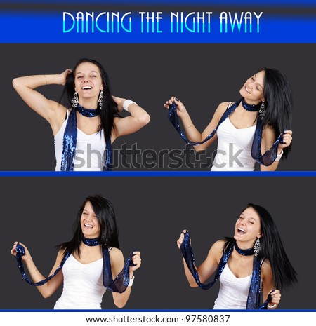 Party composition: sequence of a pretty young brunette woman having fun dancing at a club, full resolution series. - stock photo