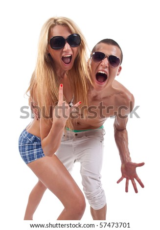 party couple screaming against a white background - stock photo