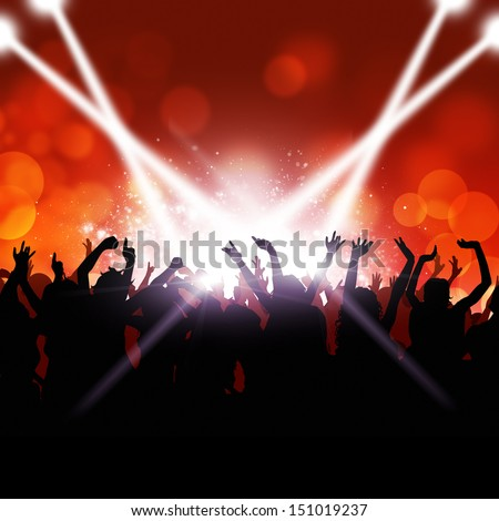 party crowd dancing under the lights and music - stock photo
