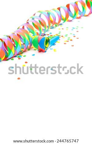 Party decoration on white background. - stock photo