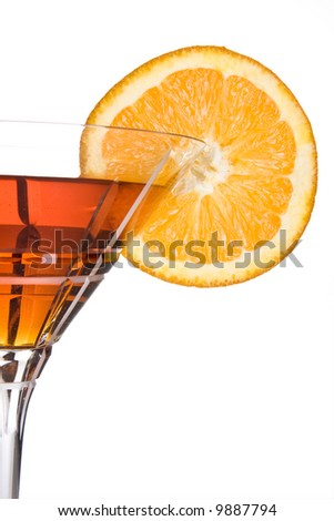 Party drink decorated with a slice of orange - stock photo