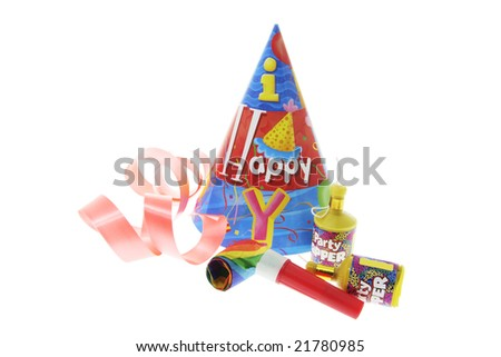Party Favors and Ribbon on White Background - stock photo