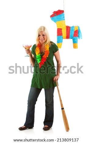Party Girl Having A Margarita And Ready To Hit Pinata - stock photo