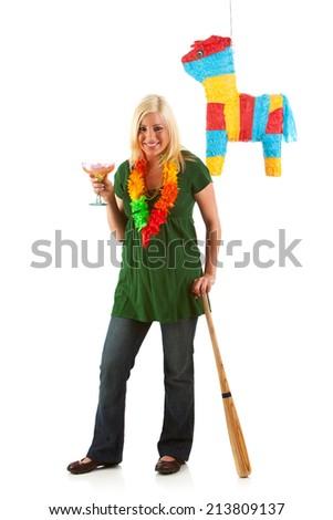 Party Girl Having A Margarita And Ready To Hit Pinata - stock photo