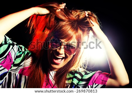 Party girl, intentionally toned - stock photo