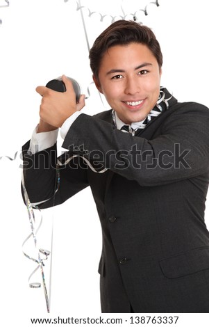 Party guy with cocktail shaker, wearing a suit and tie. White background. - stock photo
