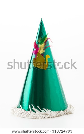 party hat on white background - stock photo