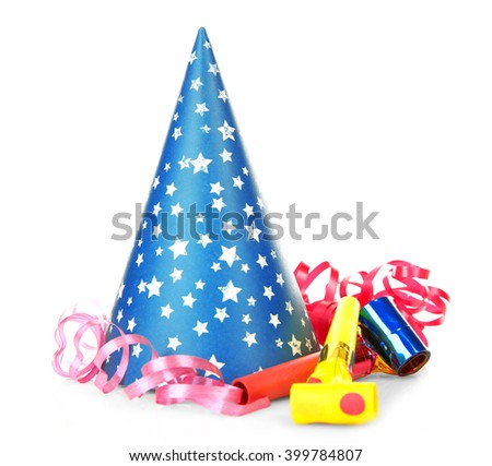 Party hat with confetti, isolated on white - stock photo