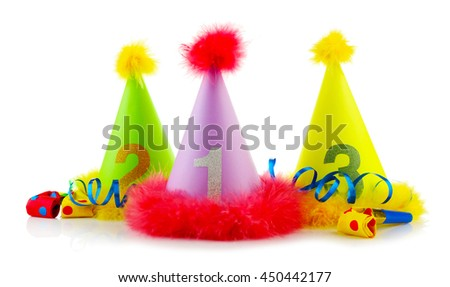 Party hats on a white background - stock photo