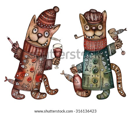 Party illustration with Cats - stock photo