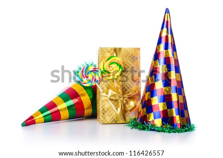 Party items on the white - stock photo