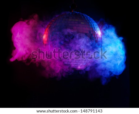 Party lights disco ball in smoke - stock photo
