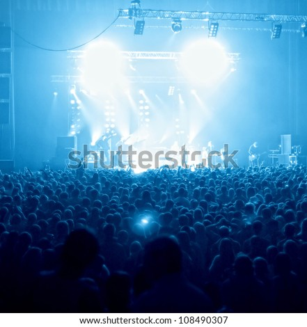 Party people  at pop concert - stock photo