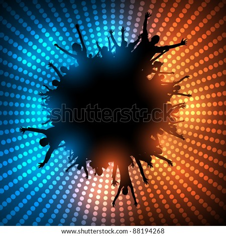 Party People Background - Dancing Young People - Raster Version - stock photo