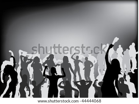 party people black silhouette illustration - stock photo