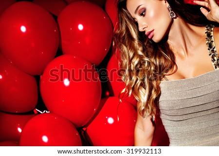 Party. Sexy girl. Celebrating. - stock photo