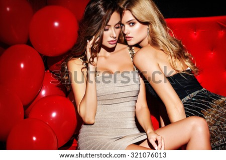 Party. Sexy girls on lounge. Celebrating. - stock photo