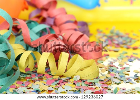 party streamers and confetti - stock photo