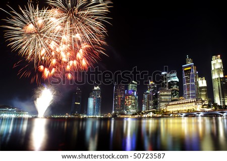 Party time in the Southeast Asian city of Singapore - stock photo