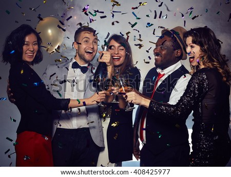 Party with confetti - stock photo