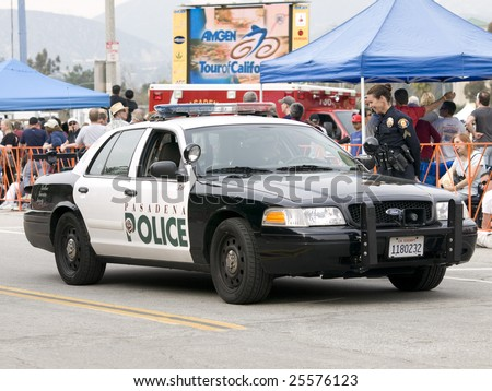 PASADENA, CA. - FEB 21: Pasadena Police providing security for stage 7 of the Amgen Tour of California February 21st 2009. - stock photo