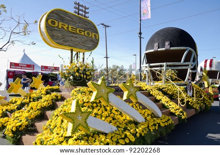 PASADENA, CA - JANUARY 3: The University of Oregon Float, participated in the 123rd Tournament of Roses Parade and was on display on January 3, 2012 in Pasadena, California. - stock photo