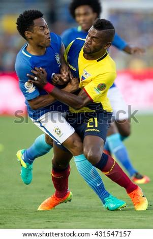 PASADENA, CA - JUNE 4: Gabriel Achiller & Elias (L) during the COPA America game between Brazil & Ecuador on June 4th 2016 at the Rose Bowl in Pasadena, Ca. - stock photo