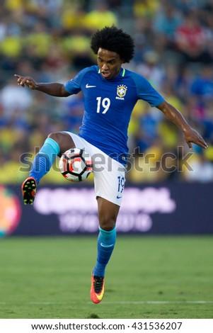 PASADENA, CA - JUNE 4: Willian during the COPA America game between Brazil & Ecuador on June 4th 2016 at the Rose Bowl in Pasadena, Ca. - stock photo