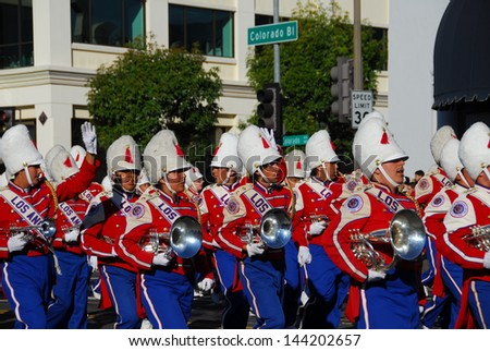 PASADENA, CA/USA - JANUARY 1: Los Angeles Unified School District Band at tournament of roses Rose Parade on January 1 2011 in Pasadena California - stock photo