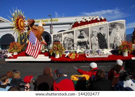 PASADENA, CA/USA - JANUARY 1: Ronald Reagan Presidential Foundation Inspired Freedom Changed The World float at the 122nd tournament of roses Rose Parade on January 1 2011 in Pasadena California - stock photo