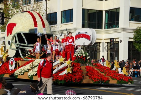 PASADENA, CA/USA - JANUARY 1: Wisconsin University Float at the 122nd tournament of roses Rose Parade on January 1 2011 in Pasadena California.Wisconsin lost to Texas in the rose bowl game - stock photo