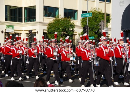 PASADENA, CA/USA - JANUARY 1: Wisconsin University Marching Band at the 122nd tournament of roses Rose Parade on January 1 2011 in Pasadena California.Wisconsin lost to Texas in the rose bowl game - stock photo