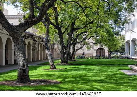 PASADENA, CA/USA - March 13: The campus of the California Institute of Technology.  Caltech is a research university in Pasadena, CA and home to 32 Nobel Prizes. March 13, 2011. - stock photo