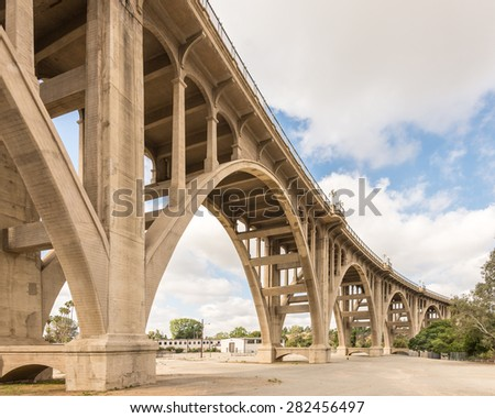 PASADENA, CA/USA - May 19, 2015: Historic Colorado Street Bridge over the Arroyo Seco canyon, on Route 66. National Register of Historic Places - stock photo