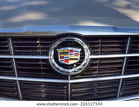 PASADENA, CA/USA - OCTOBER 25, 2014: Cadillac grille and logo. Cadillac is a division General Motors Company that markets luxury vehicles worldwide. - stock photo